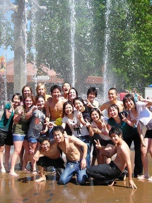 Students from a past Compass USA trip visit a water park.