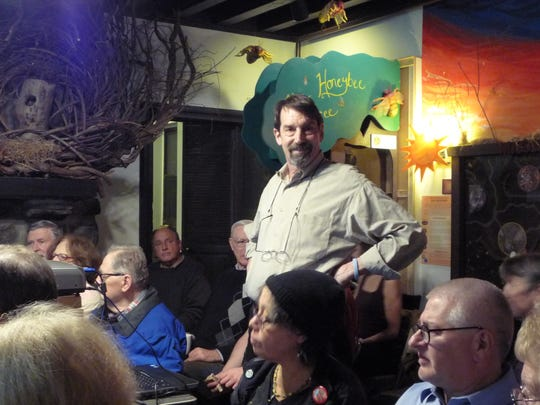 Gary Shaw of Croton-on-Hudson, a member of the Indian Point Safe Energy Coalition, was photographed during his presentation on Indian Point at Greenburgh Nature Center.