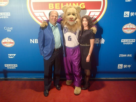 David and Wendy Dworkin with the Sacramento Kings mascot,