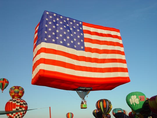 The El Paso Balloon Festival will have a patriotic theme this year featuring a Soldier Salute at 7 p.m. Saturday, followed by a Sunset Balloon Glow from 9 to 10 p.m. This is America One, which stands 53 feet tall.