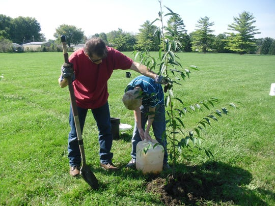 John Newby and his grandson Elliot plant a black cherry tree at Ball Corp. Park.
