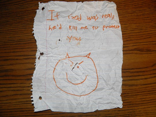 This note was found in Austin Hancock's bookbag after