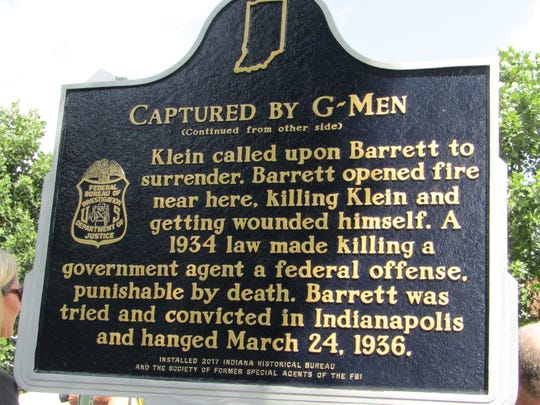 An Indiana Historic Landmarks marker noting the site