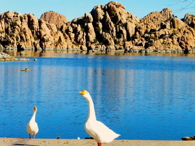 Watson Lake is nestled amid the Granite Dells, a tawny