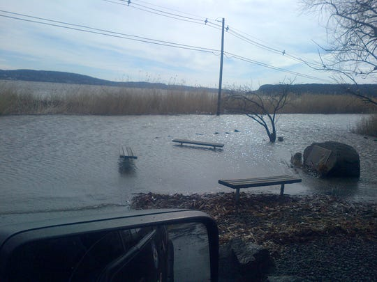 Flooding on some parts of the Piermont Pier road was