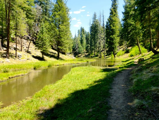 The hiking trail around Woods Canyon Lake crosses a