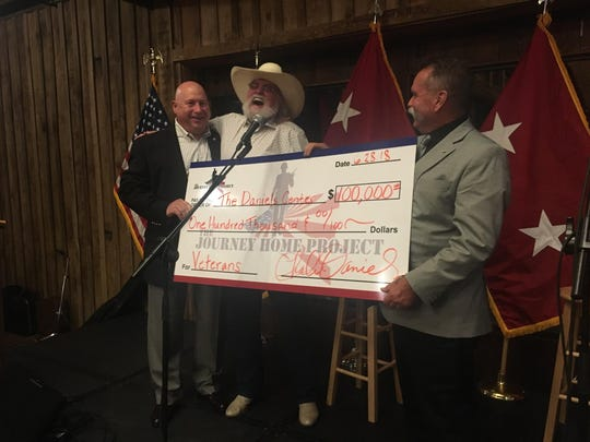 Charlie Daniels and his manager David Corlew donate $100,000 on behalf of the Journey Home Project to MTSU's Charlie and Hazel Daniels Veterans and Military Family Center.