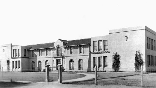 The old Gilbert High School during the 1920s. Gilbert's first high school opened in 1919. In 1987 it moved to its current location at 1101 E. Elliot Road, Gilbert. The original building is now used as a district office.