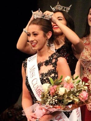 """Sarah Pepitone of Millville was crowned Miss Cumberland County 2017 on Feb. 4 during the contest held at Cumberland Regional High School in Seabrook. Olivia Cruz, Miss Cumberland County 2016, """"transfers"""" the title by placing the crown on Pepitone."""