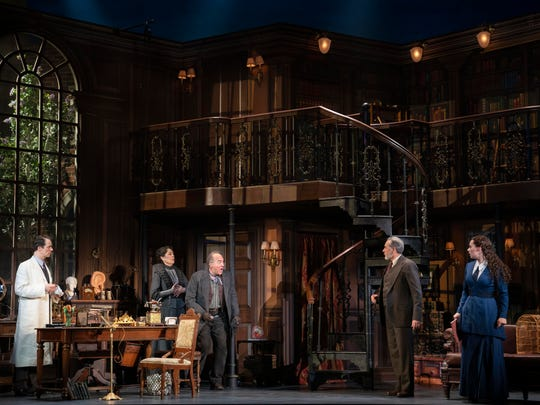 """Laird Mackintosh as Professor Henry Higgins, Gayton Scott as Mrs. Pearce, Adam Grupper as Alfred P. Doolittle, Kevin Pariseau as Colonel Pickering and Shereen Ahmed as Eliza Doolittle in """"My Fair Lady,"""" which will be onstage at Wharton from Feb. 26-March 1."""
