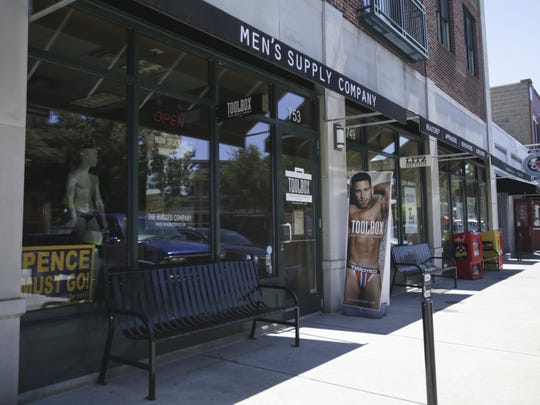 The exterior of The Toolbox, Men's Supply Company located on Mass Ave in Downtown Indianapolis on June 27, 2016. The store sells a variety of men's underwear and swimwear.