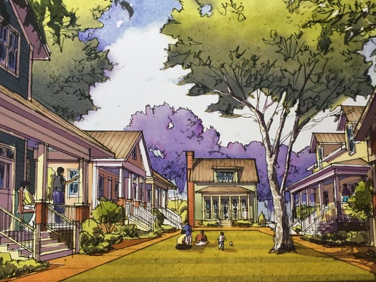 A rendering of the bungalow court in Franklin's Hard Bargain neighborhood.