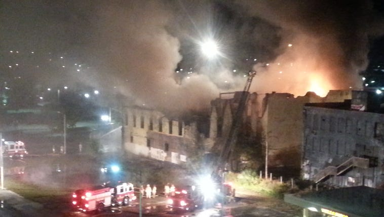 A massive fire ripped through an apparently abandoned