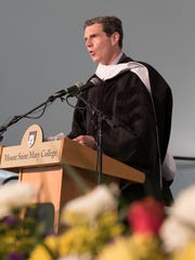 John McAvoy, President and CEO of Consolidated Edison, Inc. addresses The Class of 2017 at the 54th Annual Commencement Ceremonies at Mount Saint Mary College on Saturday, May 20 in Newburgh.