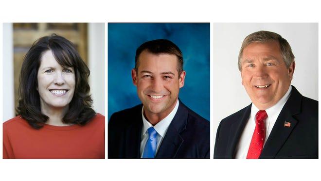 Vanderburgh County Commissioners Cheryl Musgrave, Ben Shoulders and Bruce Ungethiem