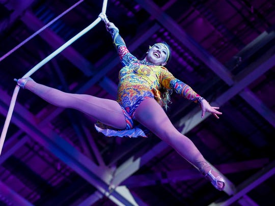 An aerialist performs at the Carden Circus at JQH Arena on Friday, Feb. 2, 2018.