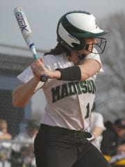 Madison's Mackenzie Mullins readies herself at bat while playing at Ontario on Thursday.