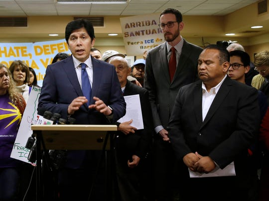 State Sen. President Pro Tem Kevin de Leon, D-Los Angeles discusses his measure SB54 after the Senate Pubic Safety Committee passed the bill, Tuesday, Jan. 31, 2017, in Sacramento, Calif. If approved by the Legislature and signed by the governor, SB54 would prohibit local law enforcement from cooperating with federal immigration authorities.
