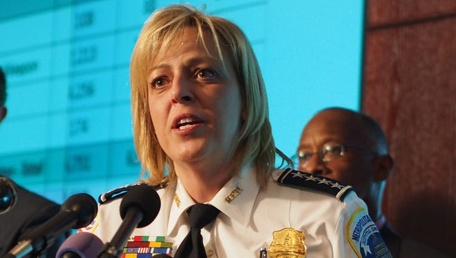 , Metropolitan Police Department Chief Cathy Lanier discusses the US capital's falling murder rate at a press conference at Washington police headquarters.