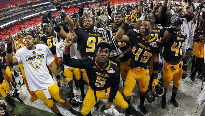 Grambling State players celebrate a victory against the North Carolina Central Eagles in the Celebration Bowl at the Georgia Dome. The impact from the HBCU national championship has been felt campus wide.