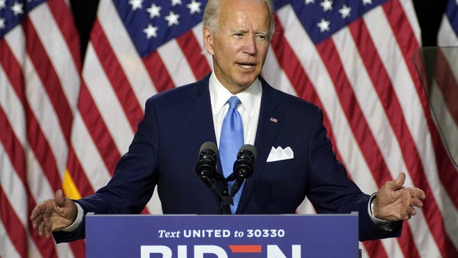 Democratic presidential candidate former Vice President Joe Biden speaks during a campaign event on Aug. 12 in Wilmington, Del.