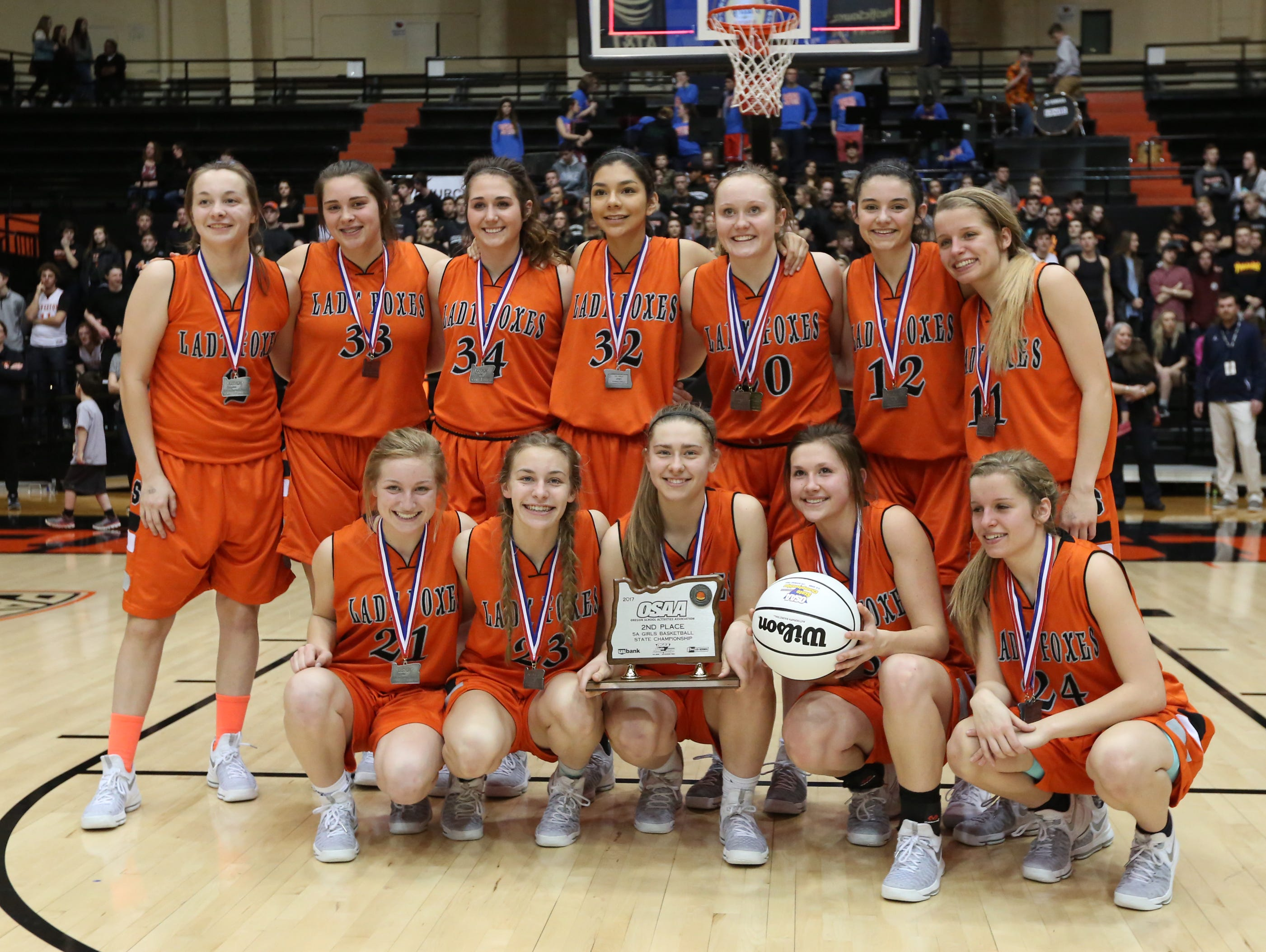 Silverton places second in the OSAA Class 5A state championship on Friday, March 10, 2017, at Gill Coliseum in Corvallis. LaSalle defeated the Foxes 42-28.