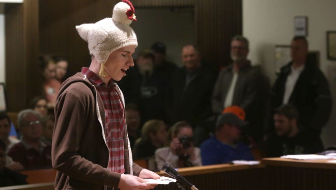 Gabriel Mount talks to Mansfield City council about his support for the backyard chicken bill on Tuesday night.