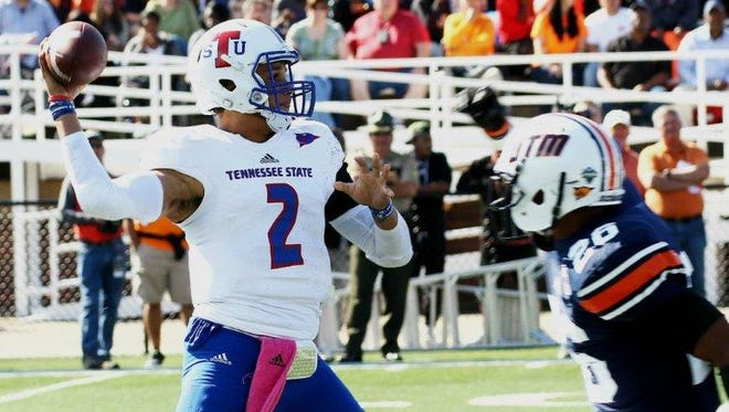 TSU quarterback O'Shaw Ackerman-Carter, who missed last week's game with a sprained MCL, could play this week against Austin Peay.
