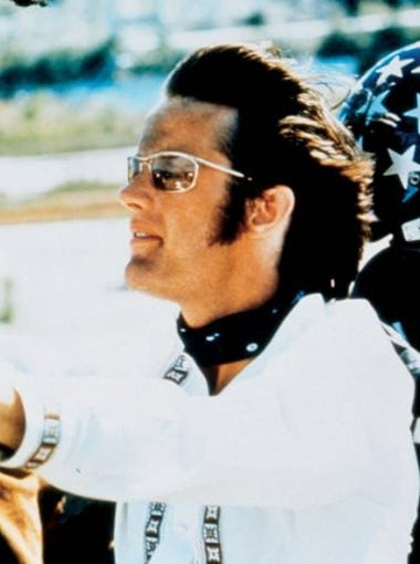 """Dennis Hopper and Peter Fonda in a scene from """"Easy Rider"""" (1969)."""