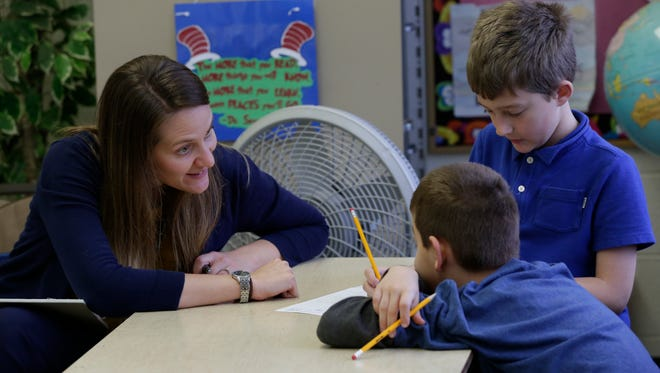 Jessica Skaaland, Oshkosh Area School District psychologist works with students, observes students and helps them when needed.  She was in Kristin Bartelt's third grade class at Franklin Elementary school in Oshkosh in 2016 when this photo was taken.