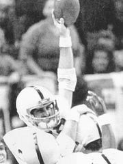 Gregg Garrity Sr. celebrates scoring the winning touchdown against Georgia in the 1983 Sugar Bowl, clinching Penn State's first national championship in football.