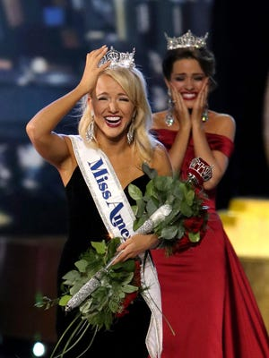 Miss Arkansas 2016 Savvy Shields after being crowned Miss America 2017 at Boardwalk Hall in Atlantic City.