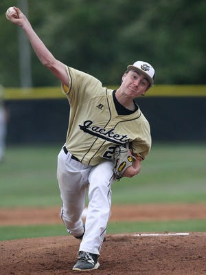 T.L. Hanna's Jackson Lindley pitches to Northwestern during class AAAA playoff action in Anderson. T.L. Hanna won 5-0.