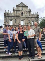 This Summer University of Guam Social Work students study social development in Macao, China. Pictured back row: Chelsea Resurreccion; 2nd Row left: Tanya Simer, Serena Pecha, Mariecar Patino, and Emilani Blas; Front row left: Alyssa Roberto, Paul Chi Meng Pun, and Dr. Gerhard Schwab.