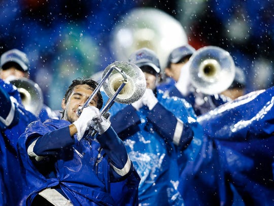 University of Memphis band members perform before action against the University of Louisiana-Monroe at the Liberty Bowl Memorial Stadium.