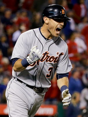 Tigers second baseman Ian Kinsler celebrates his grand slam home run against the Los Angeles Angels during the seventh inning in Anaheim on May 31, 2016.