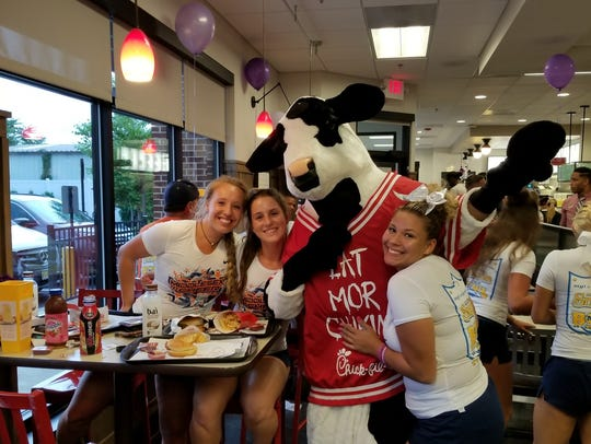 The Chick-fil-A mascot spent time with the Snapple
