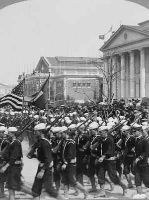 A military parade at the Jamestown Exposition in 1907. It was probably things like this that Staunton's John Moran wanted to see on his first trip away from home. He saw something else entirely.