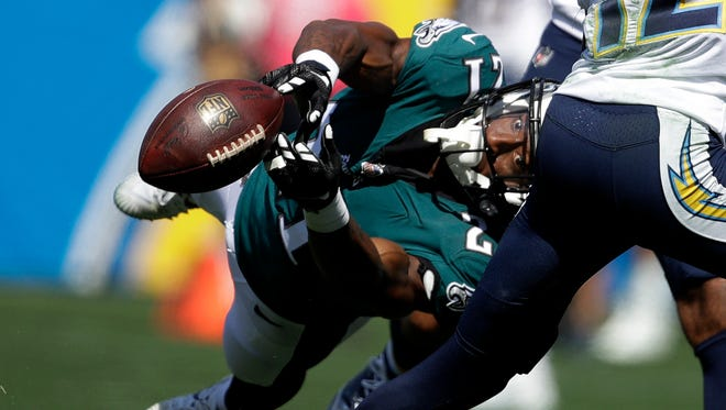 Philadelphia Eagles defensive back Patrick Robinson can't make the interception during the first half against the Los Angeles Chargers Sunday, Oct. 1, 2017, in Carson, Calif.