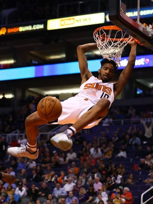 Phoenix Suns forward Derrick Jones Jr. dunks the ball in the fourth quarter against the Los Angeles Lakers at Talking Stick Resort Arena. The Suns defeated the Lakers 137-101.