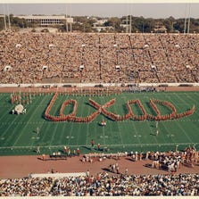 The Longhorn band in the 'Texas' formation