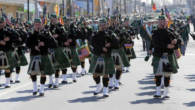 Bagpipers from The Order of the Friendly Sons of the Shillelagh of the Jersey Shore march in last year's St. Patrick's Day Parade in Belmar.