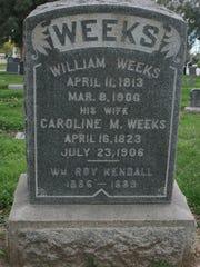 Gravestone of William and Caroline Weeks in Angeles
