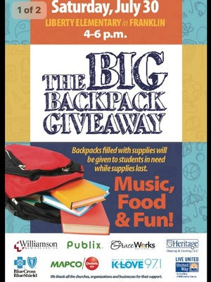 Williamson County students can receive free backpacks with school supplies at the Big Backpack Giveaway on Saturday.