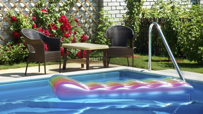 Keeping shrubs trimmed and cleaning pool skimmers are among the ways to keep your pool in good shape.