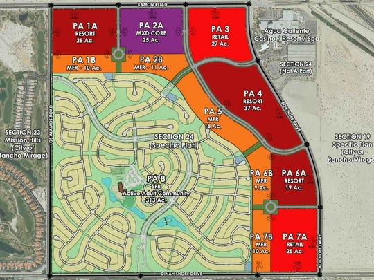A map shows zoning for the Agua Caliente Band of Cahuilla Indians' Section 24 Specific Plan.