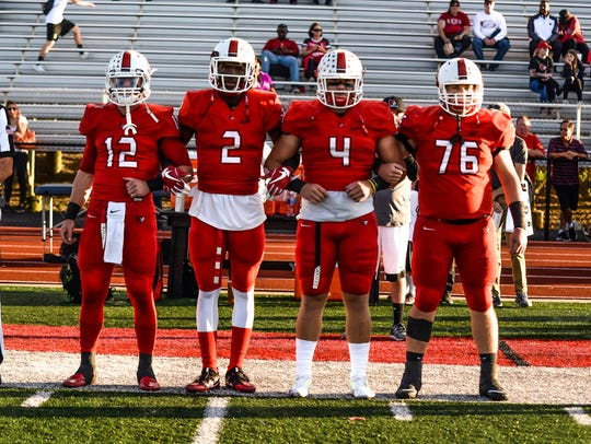 Colerain captains Gunnar Leyendecker (12), Ja'von Hicks
