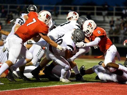 Lakota East running back Jack Dobrozsi (30) crosses