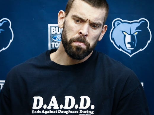 Memphis Grizzlies center Marc Gasol speaks to the media