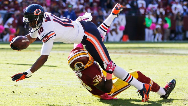 Chicago Bears wide receiver Marquess Wilson (10) is in danger of missing the start of the NFL season after breaking his collar bone.